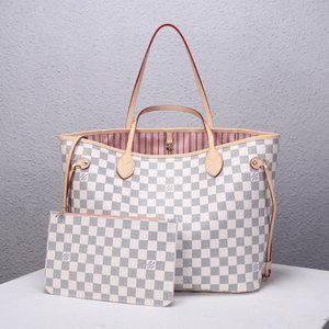 LV Neverfull Pink In Azur MM Toteswallets